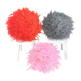 Set of 3 Feathered Juju Hat Inspired Textile Decor Pieces - Orange, Light Grey, and Pink For Sale