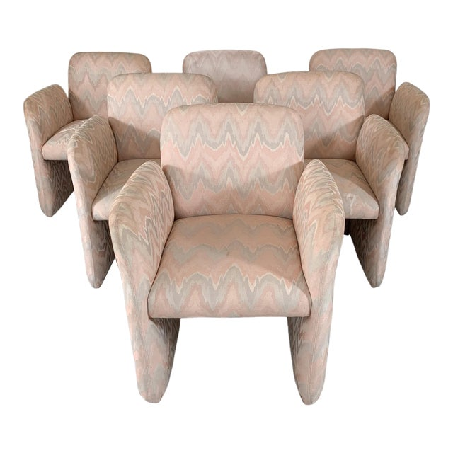 1980s Vintage Levone Flame Stitched Dining Arm Chairs- Set of 6 For Sale