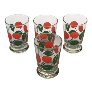 Vintage Cherry Patterned Juice Glasses - Set of 4