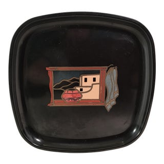 Couroc Mid-Century Modern Black Southwest Scene Tray For Sale