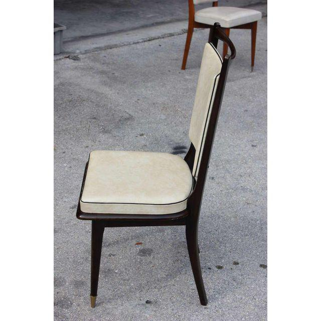 1940s Vintage French Art Deco Dark Mahogany Dining Chairs - Set of 6 - Image 7 of 10