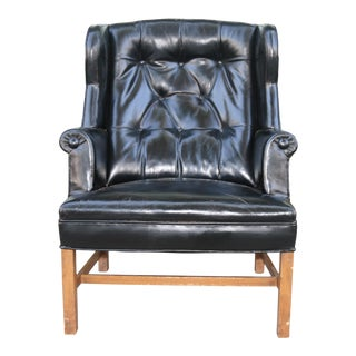 1950's Vintage Original Leather Wing Back Chair For Sale