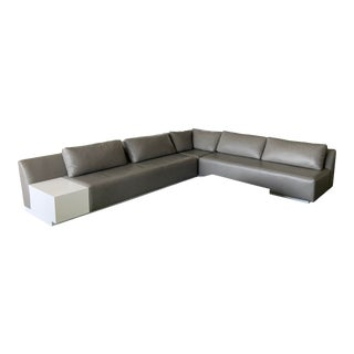 Custom Made Holly Hunt Leather Sectional For Sale