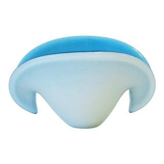 Modern Blue and White Italian Murano Art Glass Seashell Bowl Vase For Sale