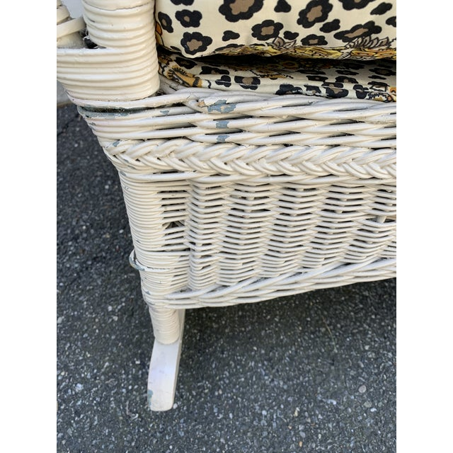 Vintage Heywood-Wakefield Wicker Sofa Set With Leopard Pattern Cushions - Set of 3 For Sale - Image 11 of 13
