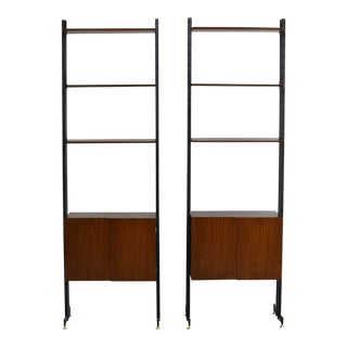 Pair Italian Mid Century Teak and Metal Etagere Cabinets For Sale
