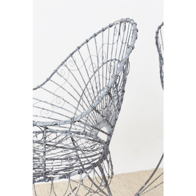 Set of Four French Iron and Wire Garden Chairs For Sale - Image 12 of 13