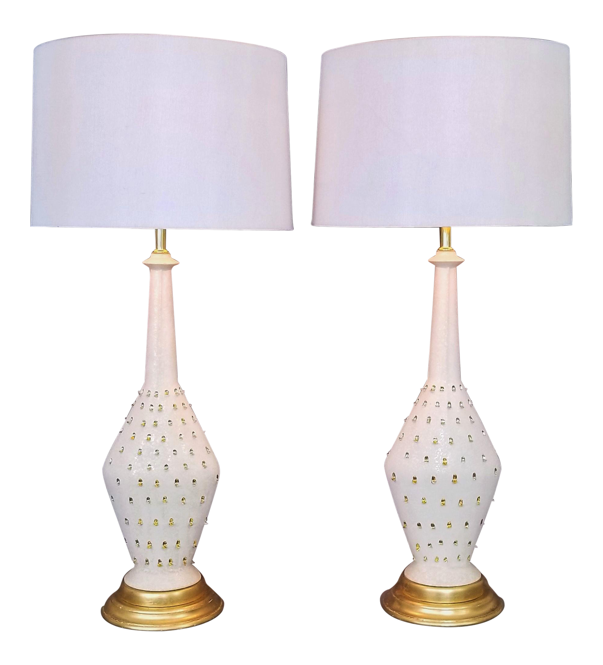 1957 Ceramic Table Lamps By Tye Of California A Pair Restored Gold Leaf