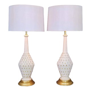 1957 Ceramic Table Lamps by Tye of California-A Pair-Restored-Gold Leaf White Brass Mid Century Modern MCM Palm Beach Boho Chic Tropical Coastal Luxe