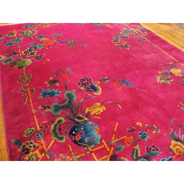 Asian 1920s Chinese Art Hot Pink Deco Rug - 8′8″ × 11′ For Sale - Image 3 of 6