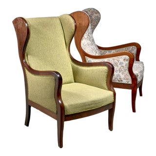 Frits Henningsen Pair Wingback Lounge Chairs, Denmark, 1940s For Sale