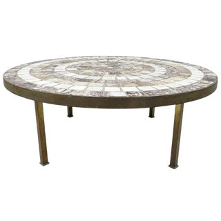 Mid Century Modern Tile Top Bronze Base Round Coffee Table For Sale