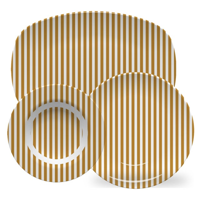American Chairish x The Muddy Dog Stripes Outdoor Plates, Marigold, Set of 6 For Sale - Image 3 of 4