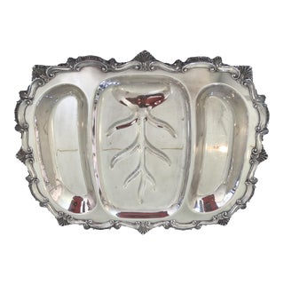 Vintage Silver Plated Well & Tree Buffet Platter For Sale