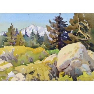 "Frederick Pomeroy ""High Sierra Woodland"" Watercolor Landscape Painting, Late 20th Century For Sale"
