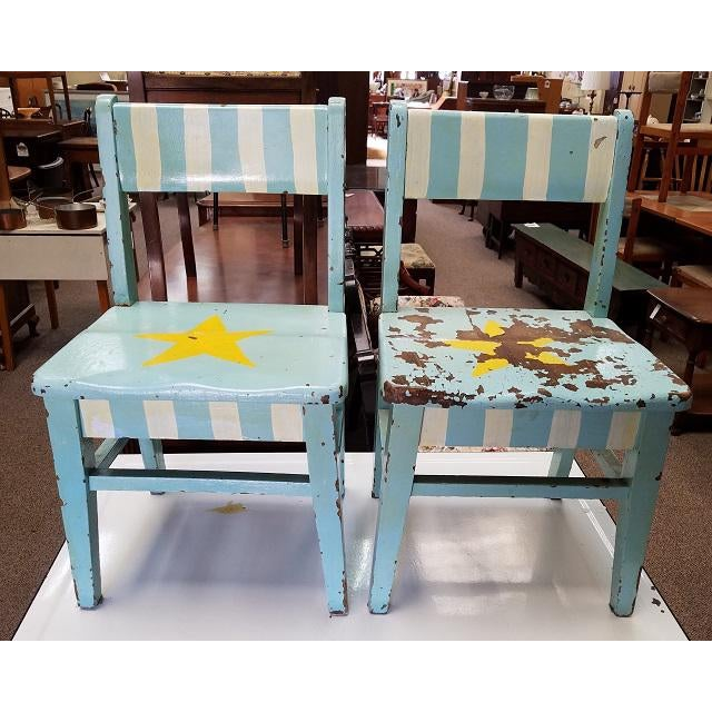 Pair of Vintage Shabby Chic Painted Children's Chairs C.1930s For Sale - Image 4 of 4