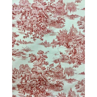 Waverly Cotton Satin Twill Woodland Toile Linen Upholstery Fabric For Sale