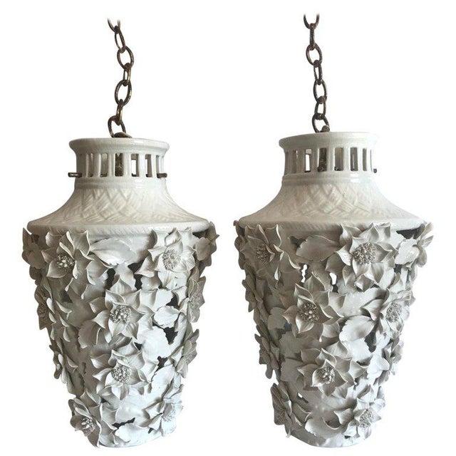1960's Italian Blanc De Chine Floral Ceramic Pendant Lights For Sale - Image 13 of 13