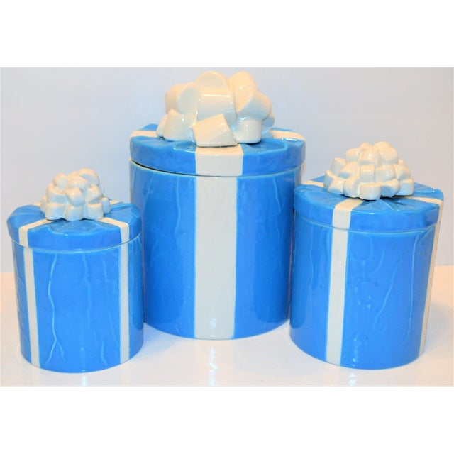 1970s Italian Trompe l'Oeil Mancioli Canister Set of 3 For Sale - Image 11 of 13
