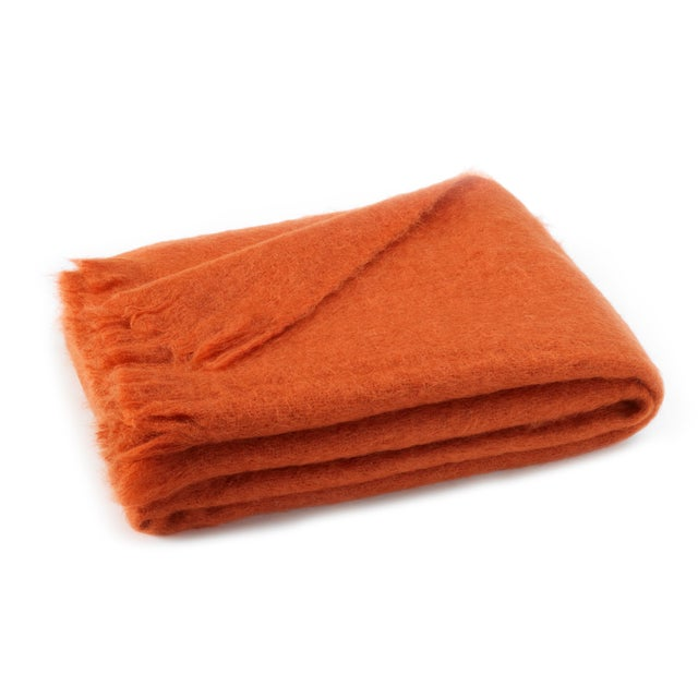 Transitional Sienna Brushed Mohair Throw For Sale - Image 3 of 3