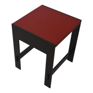 Contemporary Minimalist Blackened Steel and Stone End/Side Table by Scott Gordon For Sale