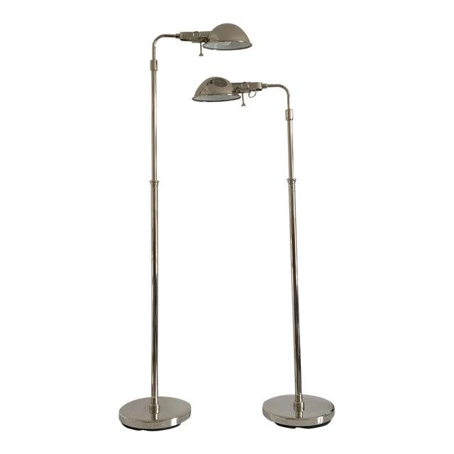 Ralph Lauren Polished Nickel Floor Lamps - A Pair - Image 1 of 10