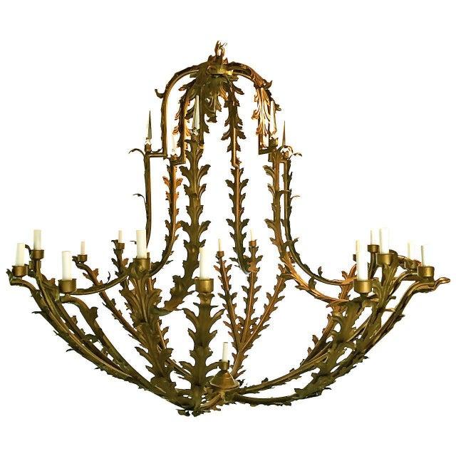 Bronzed Metal Nineteen-Light Florentine Chandelier For Sale - Image 11 of 12