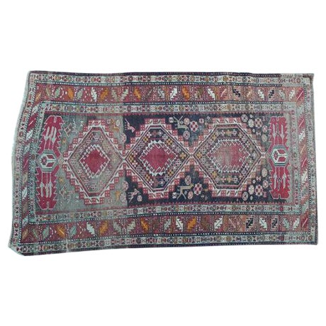 Antique Worn Geometric Tribal Rug - 3′6″ × 5′10″ - Image 1 of 6