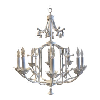 Hollywood Regency White Enameled Metal Chandelier