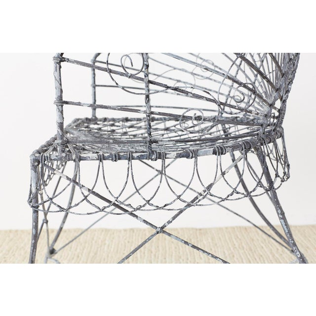 Set of Four French Iron and Wire Garden Chairs For Sale - Image 9 of 13