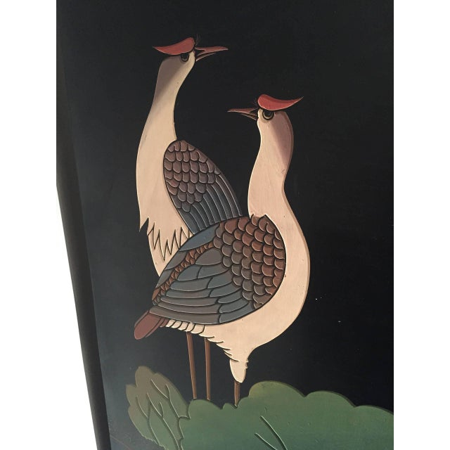 Mid 20th Century 20th Century Chinoiserie Gilt and Black Lacquered 12 Panel Screen For Sale - Image 5 of 8