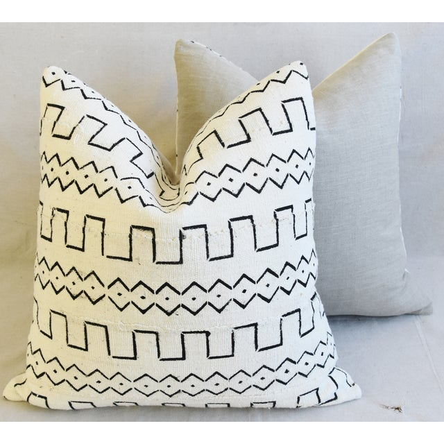 "Organic Neutral & Black Mali Tribal Mud Cloth Feather/Down Pillows 22"" Square - Pair For Sale - Image 11 of 13"