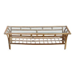 1960s Asian Rattan and Glass Top Coffee Table