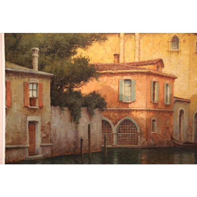 Early 20th Century French Venice Framed Oil Painting Signed Alphonse Lecoz For Sale - Image 9 of 11