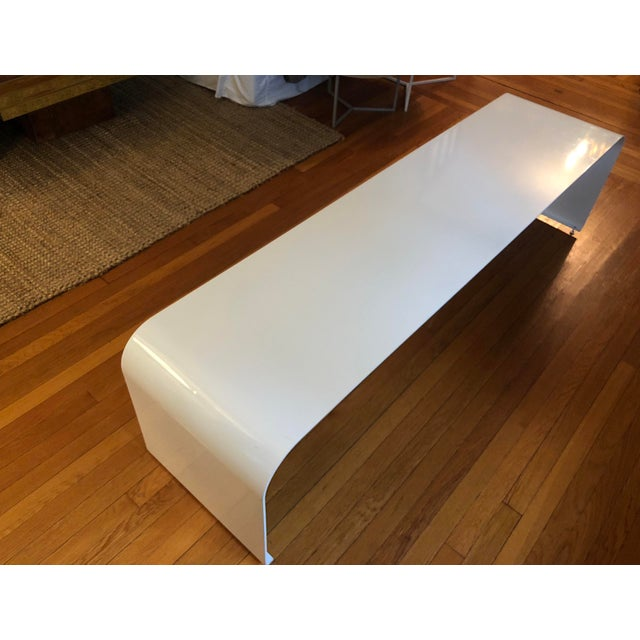 Industrial 1970s Vintage Steel Waterfall Dining Bench For Sale - Image 3 of 5