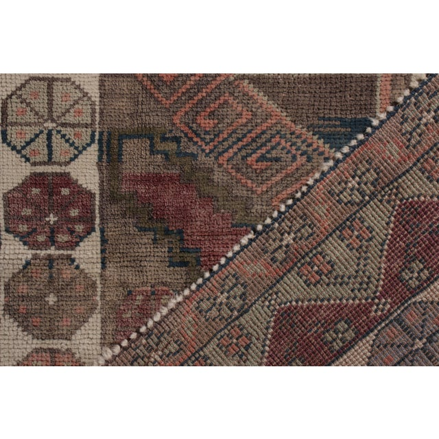 Late 19th Century Antique Anatolian Rug in Beige-Brown Purple Tribal Geometric Pattern For Sale - Image 5 of 5