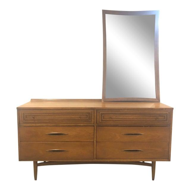 Mid-Century Modern Broyhill Sculptra Dresser With Mirror For Sale