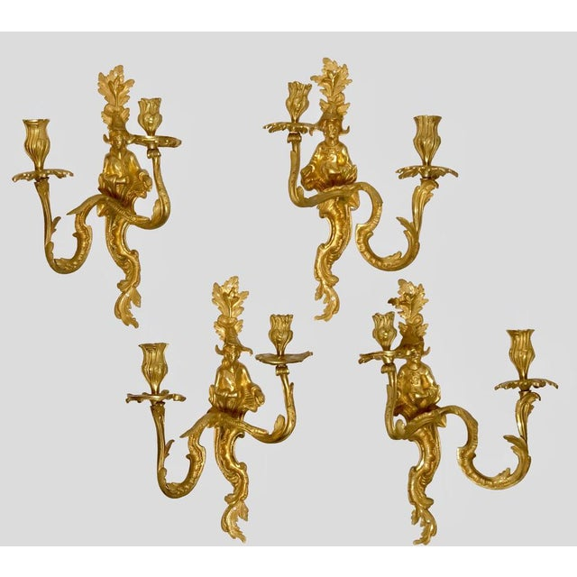 19th Century French Louis XV Chinoiserie Wall Sconces - Set of 4 For Sale - Image 4 of 4