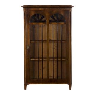 Late 19th Century Biedermeier Style Walnut Bookcase Display Cabinet For Sale