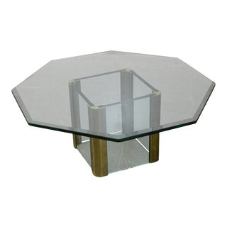 Leon Rosen for Pace Brass & Glass Octagonal Top Coffee Table For Sale