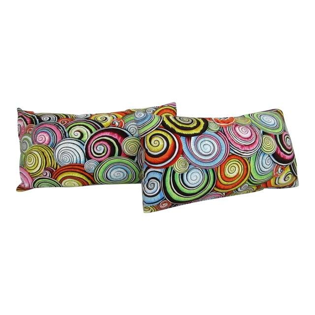 Abstract Print Lumbar Pillows - A Pair For Sale