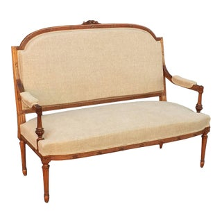 French Upholstered Settee of Carved Walnut For Sale
