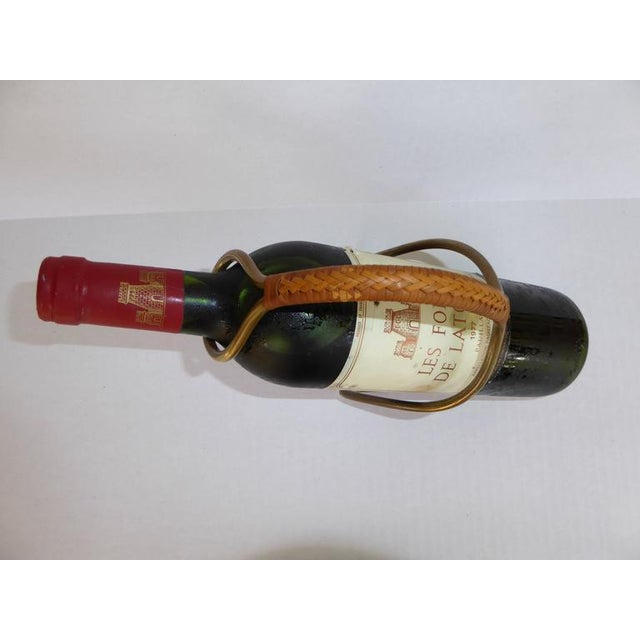 Gold Carl Auboch Modern and Elegant 1950s Brass and Wicker Wine Server. Austria For Sale - Image 8 of 11