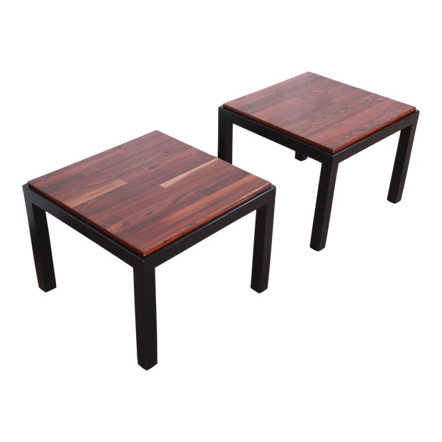Milo Baughman for Thayer Coggin Walnut and Ebonized Wood Side Tables, Newly Restored For Sale