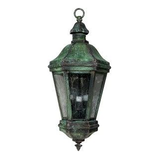 1970s Solid Brass Verdigris Hanging Lantern For Sale
