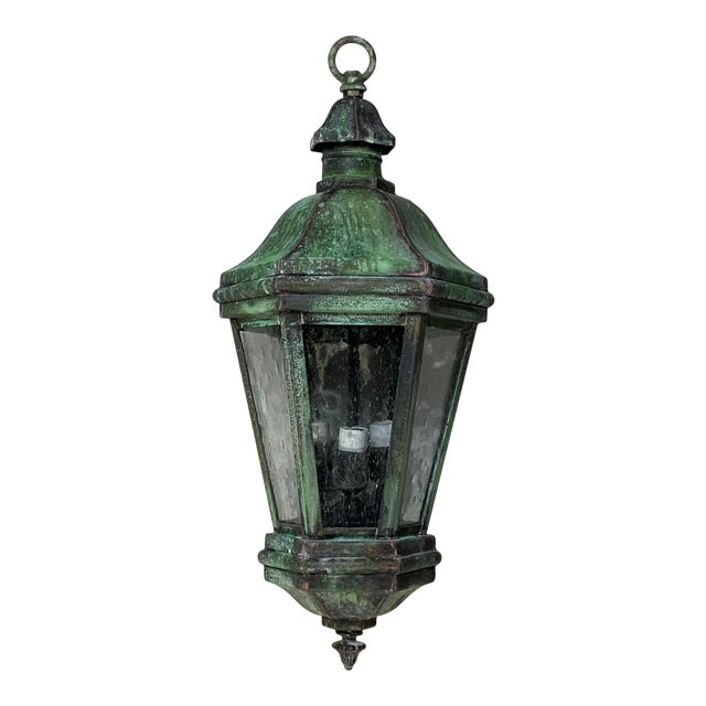 1970s Solid Brass Verdigris Hanging Lantern For Sale