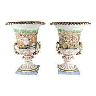 Mid 19th Century Antique Ginori Capodimonte Urns - a Pair For Sale