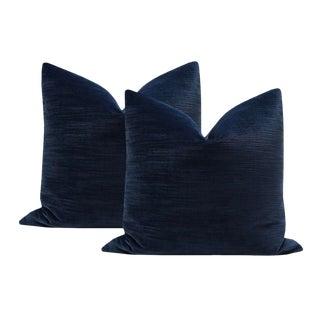 """16"""" Strie Velvet Navy Pillows - a Pair For Sale"""