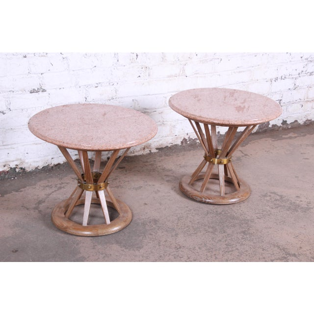 1950s Edward Wormey for Dunbar Style Sheaf of Wheat Marble Top Side Tables, Pair For Sale - Image 5 of 12