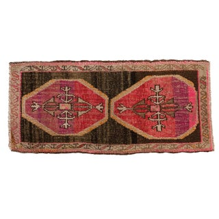 "Vintage Distressed Oushak Rug Mat - 1'5"" X 3'1"" For Sale"